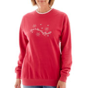MCCC Sportswear Long-Sleeve Snow In Love Grandma Fleece Sweater- Petite