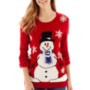 By Design Long-Sleeve Single Snowman Christmas Sweater