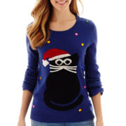 By Design Long-Sleeve Kitty Cat Christmas Sweater