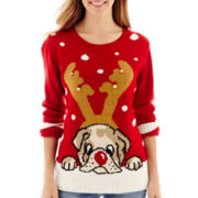 By Design Long-Sleeve Bulldog Christmas Sweater