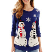 By Design Long-Sleeve Snow People Christmas Sweater