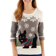By Design Long-Sleeve Scottie Dog Christmas Sweater - Petite
