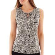 Liz Claiborne® Smocked Paisley Knit Tank Top