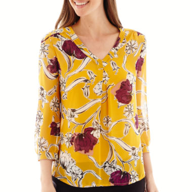 jcpenney.com | Liz Claiborne® Long-Sleeve Floral Print Blouse - Tall