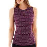Liz Claiborne® Split Pleat-Neck Tank Top