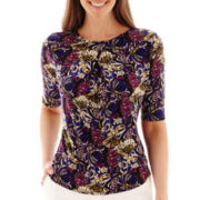 Liz Claiborne® Elbow-Sleeve Paisley Print Top