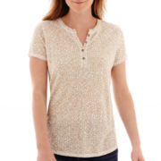 Liz Claiborne® Short-Sleeve Animal Print Henley Top