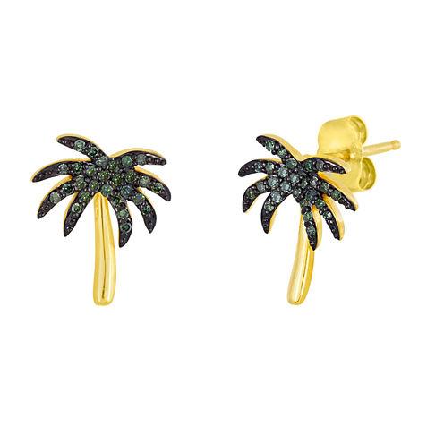 1/6 CT. T.W. Color-Enhanced Green Diamond Palm Tree Earrings