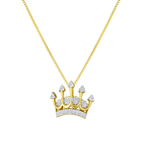 1/10 CT. T.W. Diamond Crown Pendant Necklace