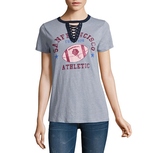 Arizona Lace Up Graphic T-Shirt- Juniors