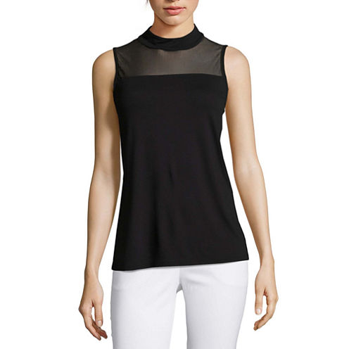 Worthington sleeveless mock neck animal t shirt womens for Sleeveless mock turtleneck shirts