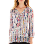 Liz Claiborne® 3/4-Sleeve V-Neck Print Blouse - Tall