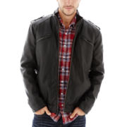 i jeans by Buffalo Faux-Leather Rib-Knit Bomber