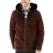 Excelled® Faux-Shearling Pea Coat with Hood