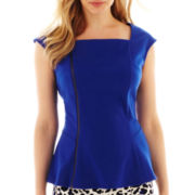 Worthington® Asymmetrical Zip-Front Peplum Top - Tall
