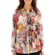 Liz Claiborne Long-Sleeve Print Tunic Top - Tall
