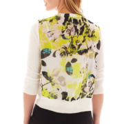 Worthington® 3/4-Sleeve Chiffon-Back Cardigan Sweater