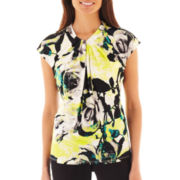 Worthington® Cap-Sleeve Twist-Front Top - Petite