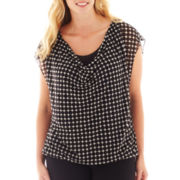 Worthington® Cap-Sleeve Chiffon Mesh Top - Plus