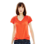 Joe Fresh™ Short-Sleeve V-Neck Crochet Tee