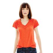 Joe Fresh™ Short-Sleeve V-Neck Crochet Tee