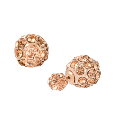 jcpenney.com | Worthington® Rose-Tone Crystal Pave Stud Earrings