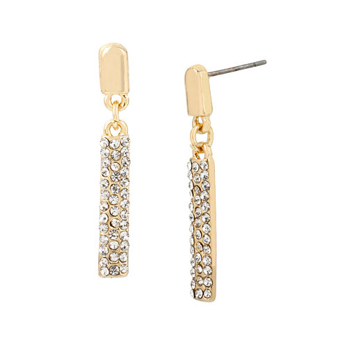Worthington® Rose-Tone Crystal Pave Stick Earrings