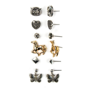 jcpenney.com | Decree® 6-pr. Two-Tone Glass-Stone Heart Owl Horse Earring Set