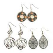 Decree® 3-pc. Silver-Tone Disc, Swirl & Teardrop Earring Set