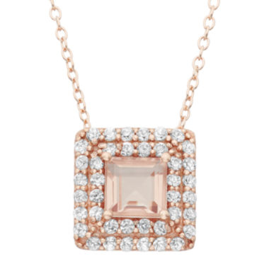jcpenney.com | Simulated Morganite & Lab-Created White Sapphire 14K Gold Over Silver Pendant Necklace