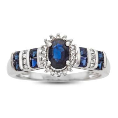 jcpenney.com | Womens Diamond Accent Blue Sapphire 10K Gold Cocktail Ring