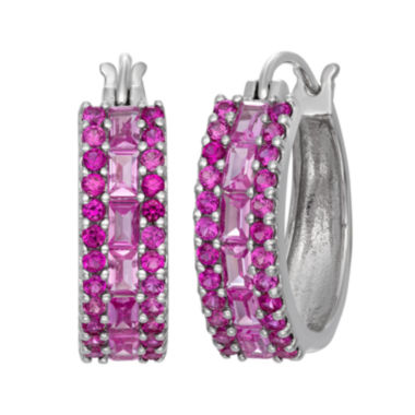 jcpenney.com | Lab Created Pink Sapphire & Lab Created Ruby Sterling Silver Earrings