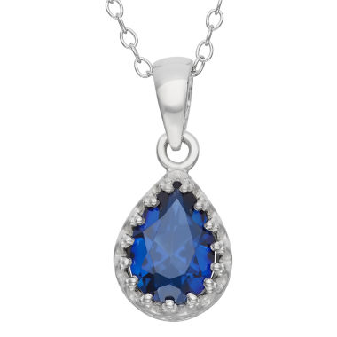jcpenney.com | Lab-Created Blue Sapphire Sterling Silver Pendant Necklace