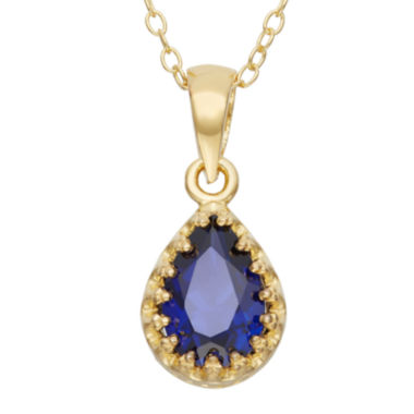 jcpenney.com | Lab-Created Blue Sapphire 14K Gold Over Silver Pendant Necklace
