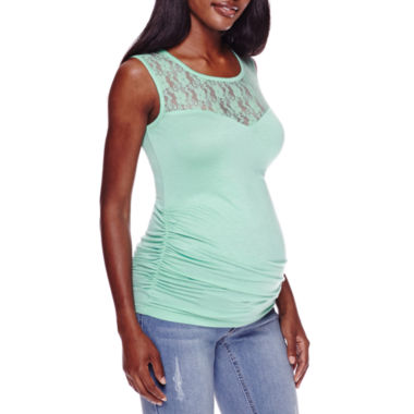 jcpenney.com | Maternity Garment Dye Lace Tank Top
