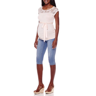 jcpenney.com | Maternity Cap-Sleeve Lace Yoke Tee or Bermuda Shorts