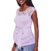 Maternity Cap-Sleeve Lace Yoke Tee