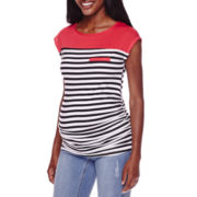 Planet Motherhood Maternity Colorblock Striped Tee