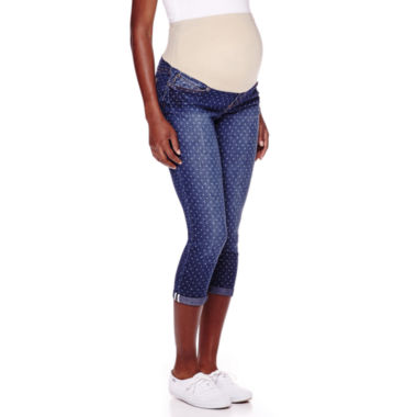 jcpenney.com | Maternity Overbelly Roll-Cuff Dot Capris