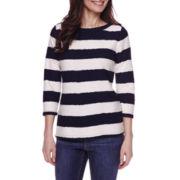 St. John's Bay® 3/4-Sleeve Stripe Texture Shirt - Petites