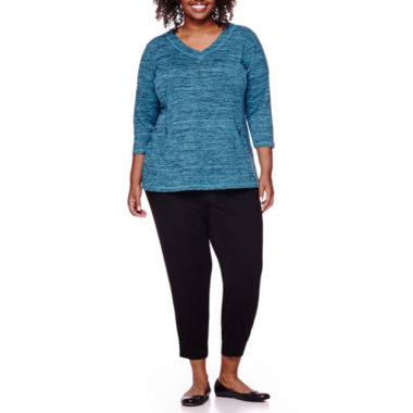 jcpenney.com | Liz Claiborne® Long-Sleeve Front-Pocket Pullover or Jogger Pants  - Plus