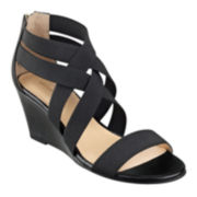 Liz Claiborne® Rockele Stretch Wedge Sandals