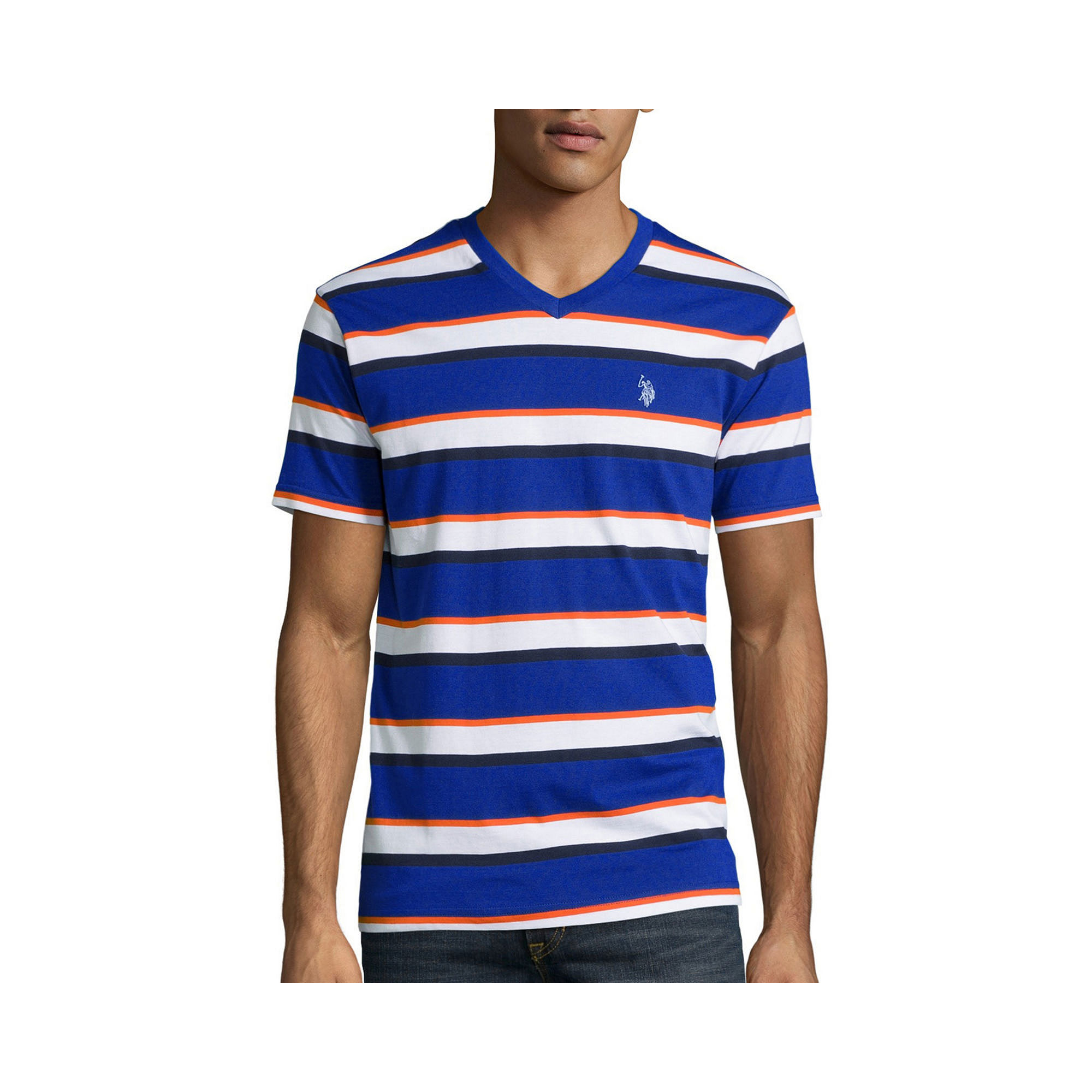 U.S. Polo Assn. Short-Sleeve Striped V-Neck Tee