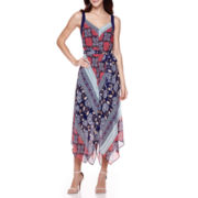 Robbie Bee® Sleeveless Patchwork Print Hanky-Hem Maxi Dress