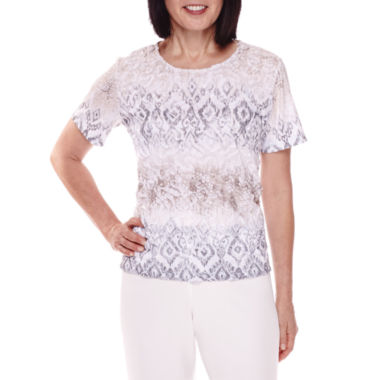 jcpenney.com | Alfred Dunner® Acadia Short-Sleeve Texture Tee - Petite