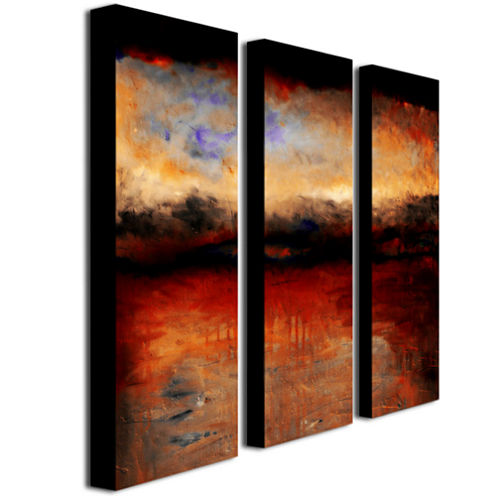 Red Skies at Night 3-Panel Canvas Wall Art