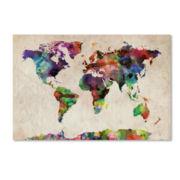 Urban Watercolor World Map Canvas Wall Art