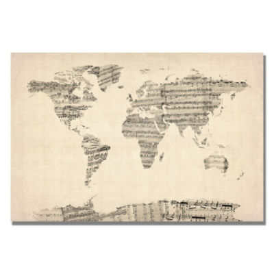 Old sheet music world map canvas wall art jcpenney old sheet music world map canvas wall art gumiabroncs Images
