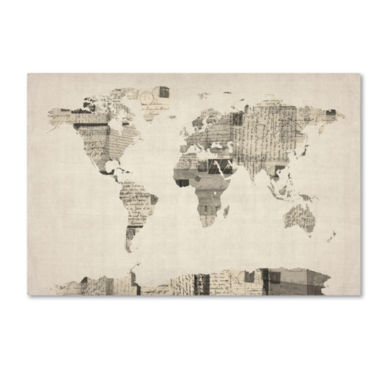 jcpenney.com | Vintage Postcard World Map Canvas Wall Art