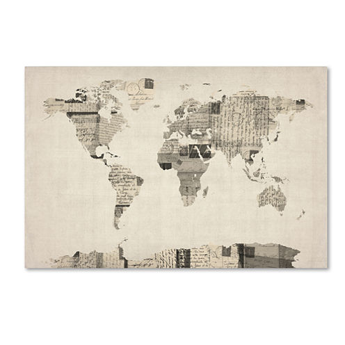 Vintage Postcard World Map Canvas Wall Art